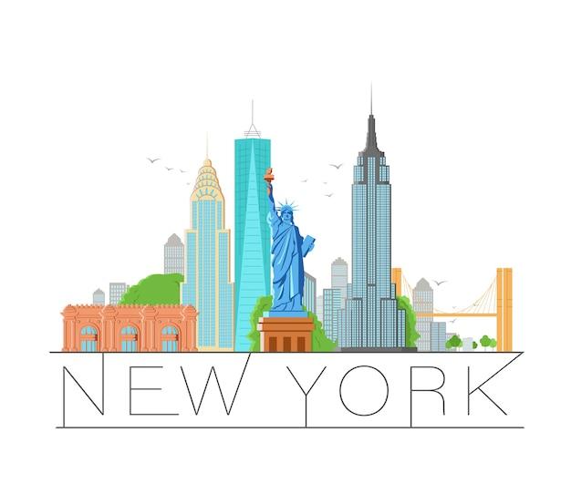 Illustrazione retrò di architettura della città di new york, silhouette skyline della città, grattacielo, design piatto Vettore Premium