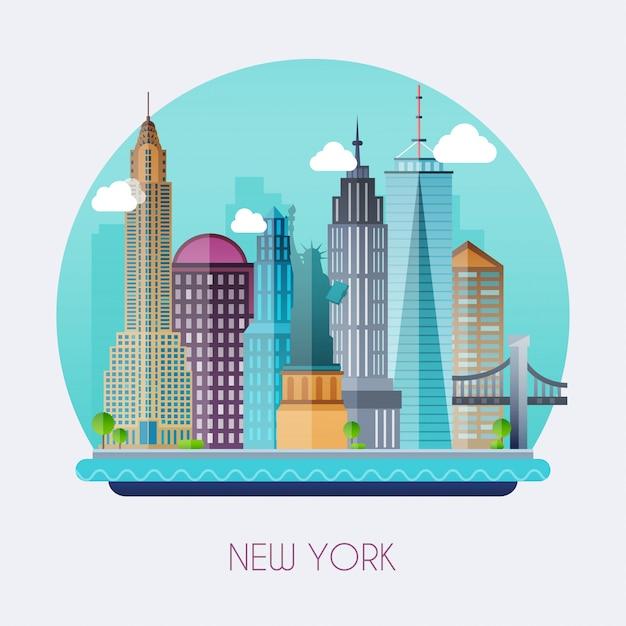 Illustrazione di new york city Vettore Premium