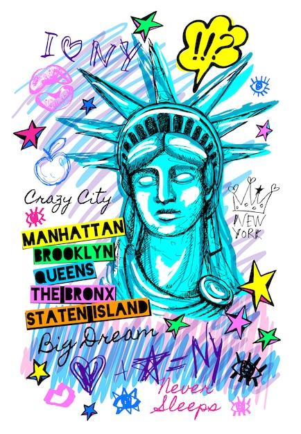 Statua della libertà di new york city Vettore Premium