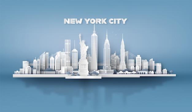 New york city con grattacieli urbani Vettore Premium