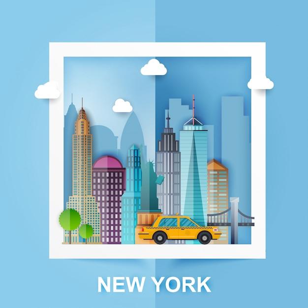 New york. skyline e paesaggio di edifici e monumenti famosi. stile di carta. illustrazione. Vettore Premium