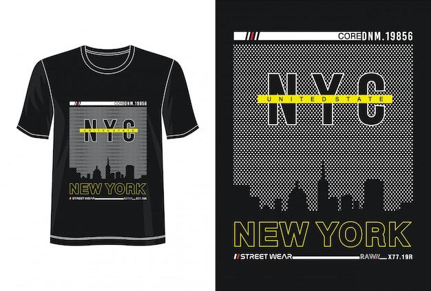 Tipografia new york per t-shirt stampata Vettore Premium