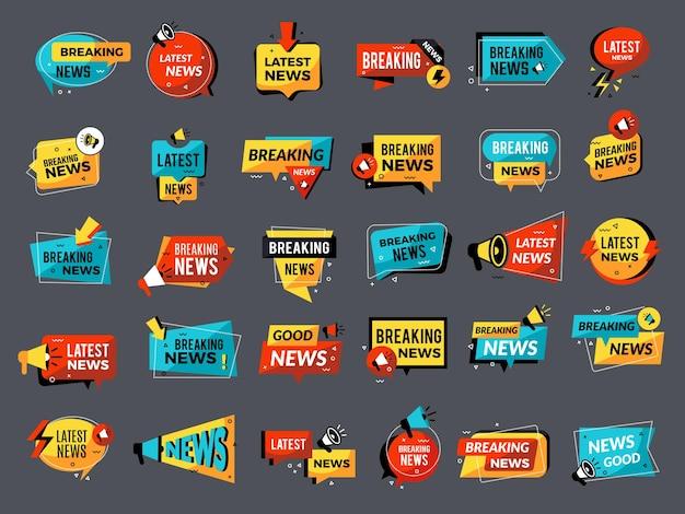 Distintivi di annunci di notizie. prezzo giù vendita negozio sconto megafono simboli promo set. Vettore Premium