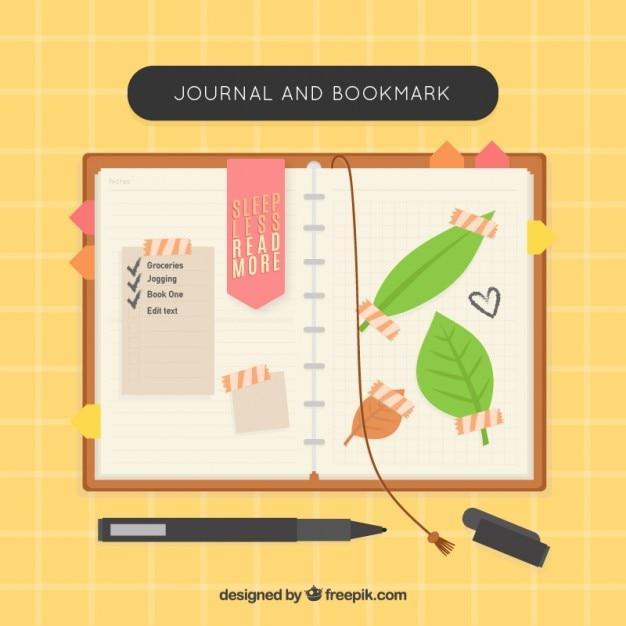 Nizza notebook con i segnalibri e le foglie Vettore Premium