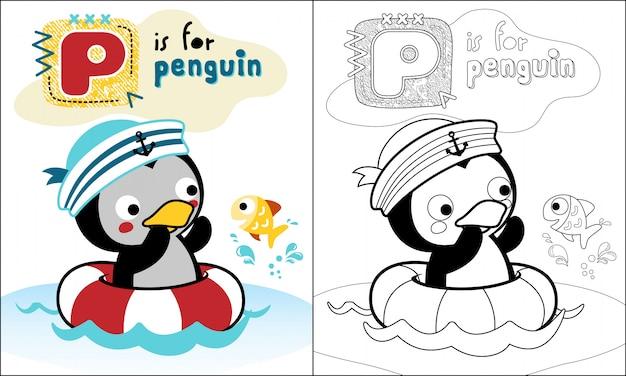 Simpatico cartone animato di pinguino nuotare con poco pesce Vettore Premium
