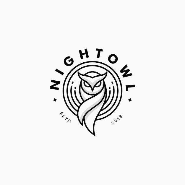 Nigh owl line art design concept Vettore Premium