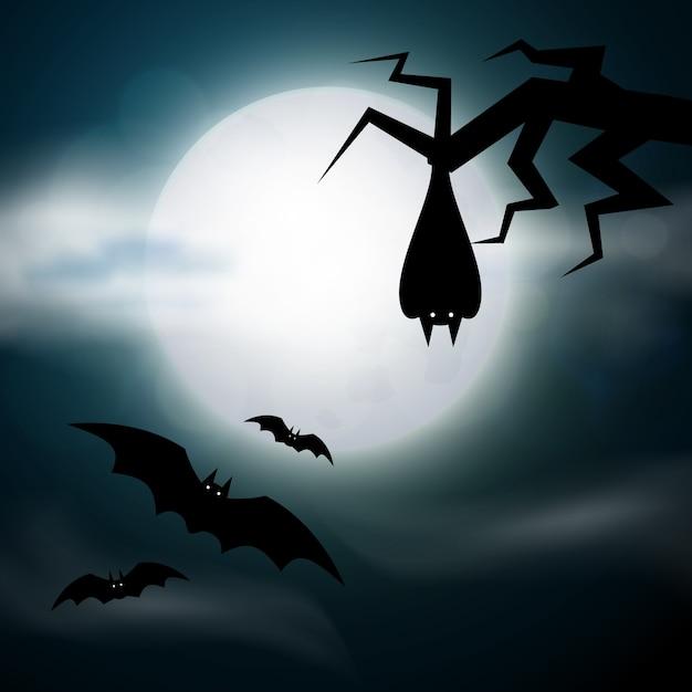 Cimitero notturno, croci, lapidi e tombe. illustrazione di halloween spaventoso colorato. Vettore Premium