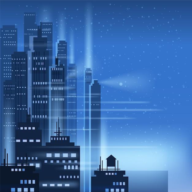 Città di notte, scena della città, grattacieli, torri, cielo stellato, luci, orizzonte, prospettiva Vettore Premium