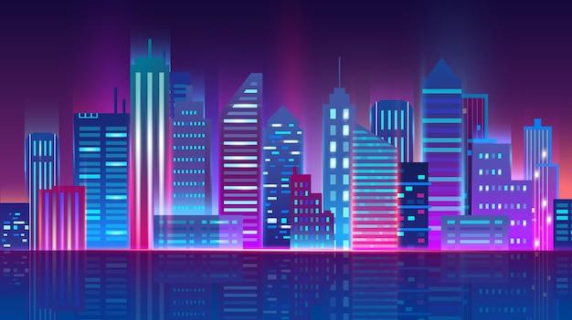 Skyline della città di notte con luci al neon incandescente. Vettore Premium