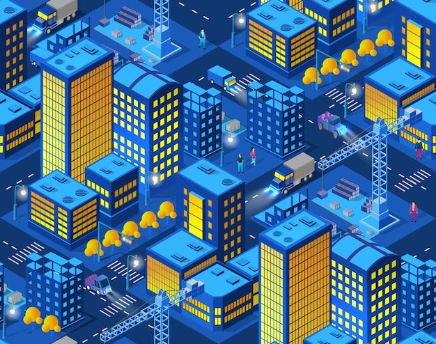 La città intelligente della gru domestica della costruzione industriale di notte Vettore Premium