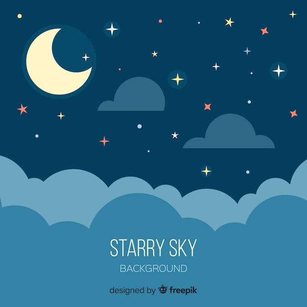 Sfondo del cielo stellato di notte Vettore Premium