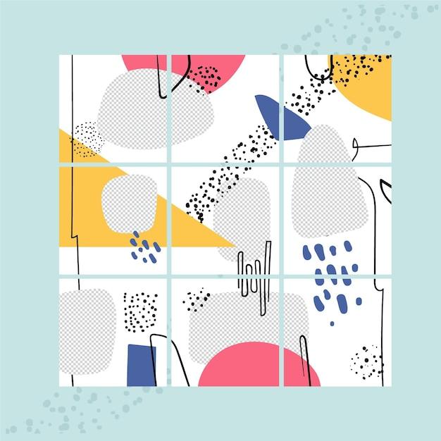 Nove modelli di feed di puzzle per instagram Vettore Premium