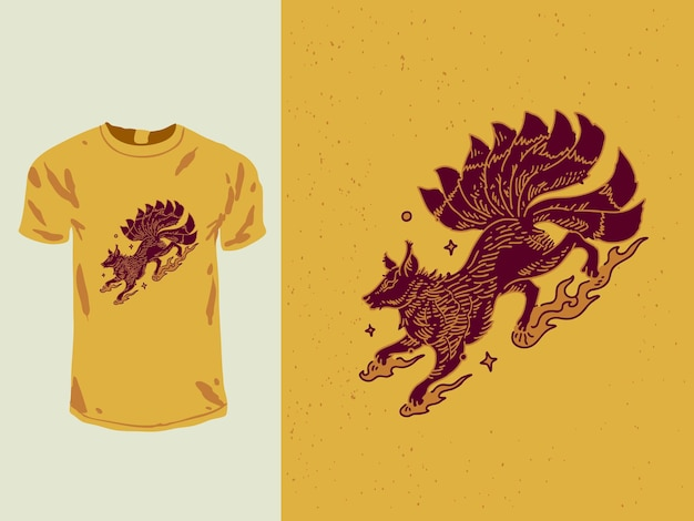T-shirt monoline di volpe rossa a nove code Vettore Premium