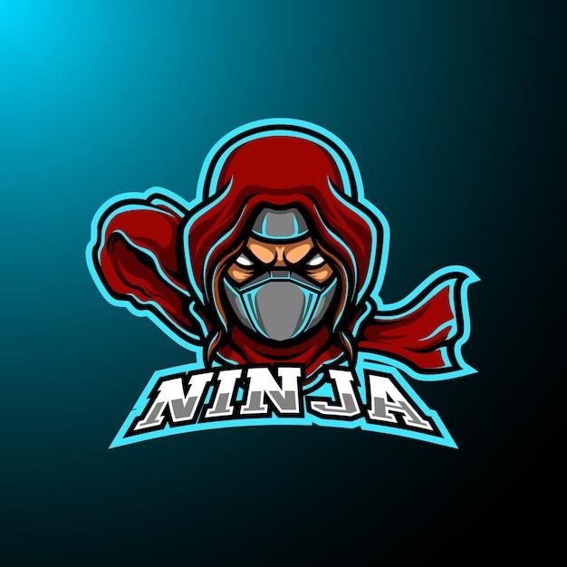 Logo della mascotte di ninja e sport Vettore Premium