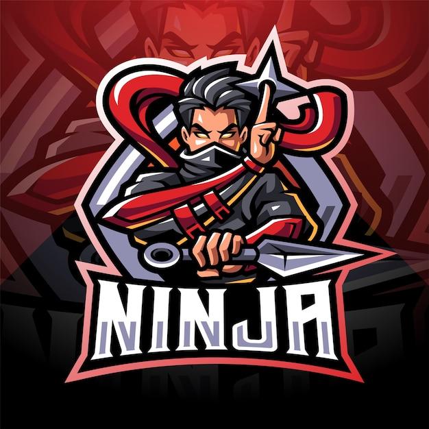Logo della mascotte di ninja esport Vettore Premium