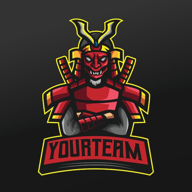 Ninja red samurai con maschera giapponese sport illustrazione per logo esport gaming team squad Vettore Premium