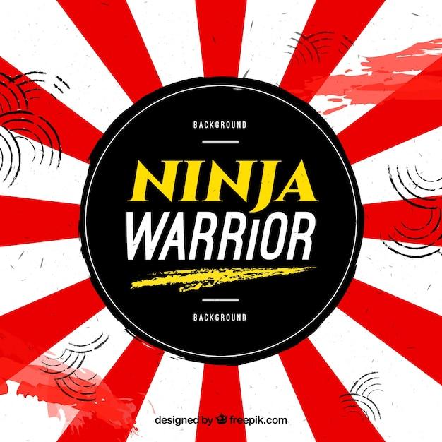 Sfondo di guerriero ninja con bandiera giapponese Vettore Premium