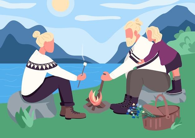 Illustrazione di colore piatto picnic in famiglia nordica Vettore Premium