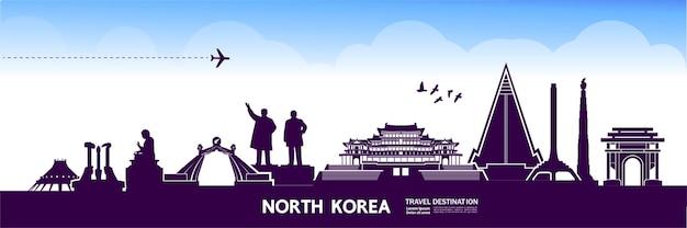 Illustrazione della destinazione di viaggio della corea del nord. Vettore Premium