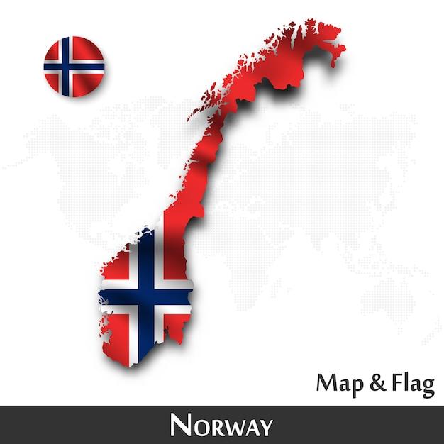 Mappa e bandiera della norvegia. agitando il design tessile. dot mappa del mondo di fondo. vettore Vettore Premium