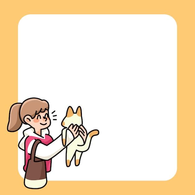 Appunti simpatici disegni di ragazza e gatto per elencare le note quotidiane Vettore Premium