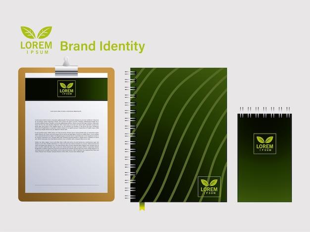 Notebook per l'identità del marchio nel design dell'illustrazione delle aziende Vettore Premium