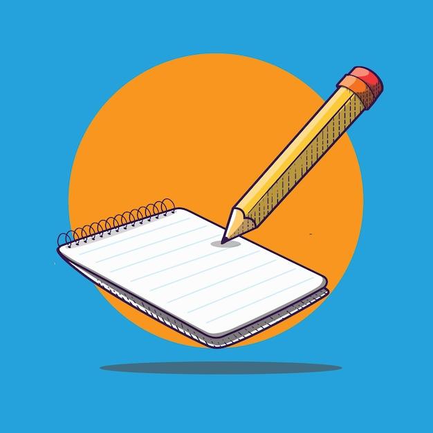 Illustrazione dell'icona del fumetto di concetto di note con carta e matita Vettore Premium