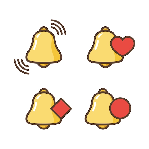 Icona della campana di notifica. nuovo messaggio. icone della campana con lo stato diverso. Vettore Premium