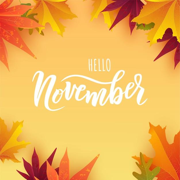 Testo di scritte a mano di novembre con foglie autunnali luminose. Vettore Premium