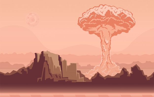 Esplosione di una bomba nucleare nel deserto. fungo atomico. illustrazione. Vettore Premium