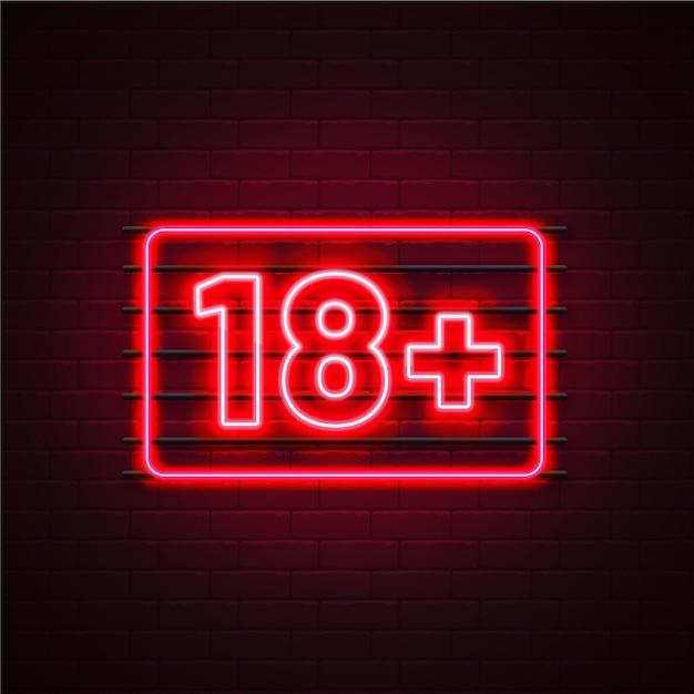 Numero 18+ in stile neon Vettore Premium