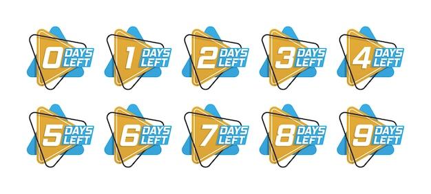 Numero di giorni rimanenti per il conto alla rovescia modello, può essere utilizzato per promozione, vendita, pagina di destinazione, modello, interfaccia utente, web, app mobile, poster, banner, volantino. banner promozionale con numero di giorni rimanenti. Vettore Premium