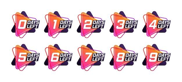 Numero di giorni rimanenti per il conto alla rovescia del modello. banner promozionale con numero di giorni rimanenti. vettore. Vettore Premium