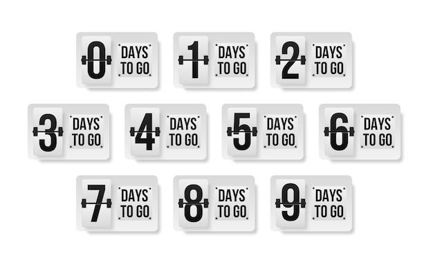 Numero di giorni rimanenti per il conto alla rovescia del modello. banner promozionale con numero di giorni rimanenti. Vettore Premium