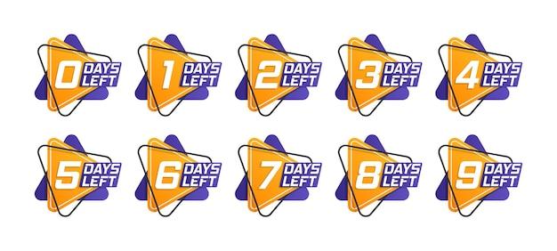 Numero di giorni rimanenti per il conto alla rovescia del modello Vettore Premium