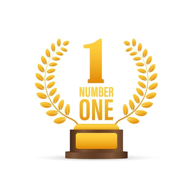 Numero uno per il gioco. premio icona nastro d'oro numero. risultato del concorso. banner vincitore. illustrazione di riserva. Vettore Premium