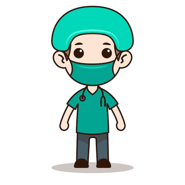 Design del personaggio chibi infermiera con maschera Vettore Premium