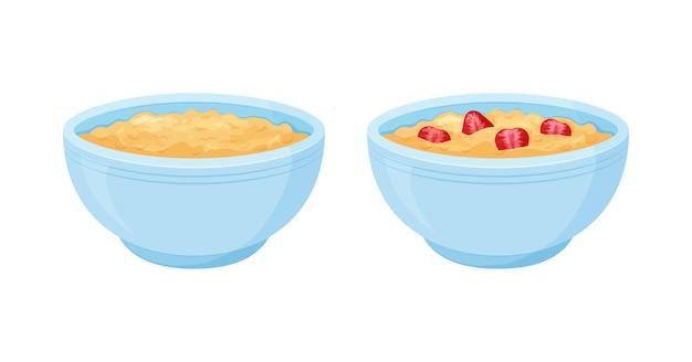 Ciotola di avena. farina d'avena dolce con tazza colazione alla fragola, porridge di cereali d'avena. cartoon muesli, fiocco per una sana alimentazione Vettore Premium