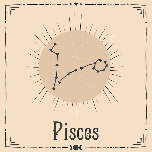 Segno zodiacale di astrologia occulta Vettore Premium
