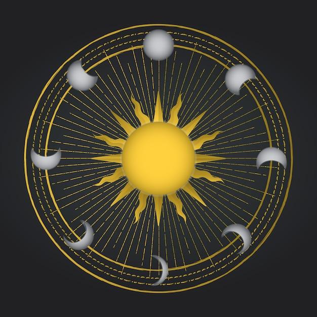Sole occulto con ciclo lunare. decorazione dell'occultismo Vettore Premium