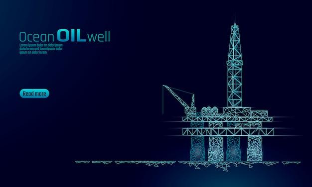 Concetto basso di affari della piattaforma di produzione del gasolio dell'oceano poli. economia finanziaria produzione di benzina poligonale. la linea offshore delle torri di estrazione dell'industria petrolifera del petrolio punteggia l'illustrazione blu di vettore dei punti del collegamento Vettore Premium