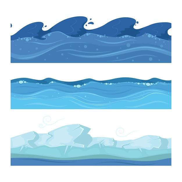 Onde di acqua di mare o di mare. set di modelli senza cuciture orizzontali per i giochi dell'interfaccia utente. illustrazione dell'oceano o del mare dell'acqua dell'onda Vettore Premium