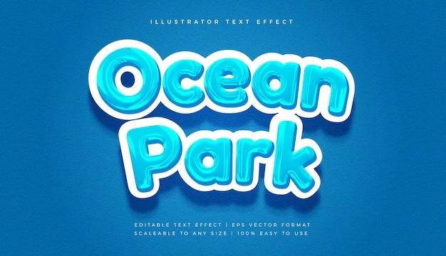 Effetto carattere stile testo tema oceano Vettore Premium