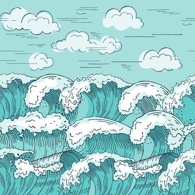 Modello senza cuciture delle onde dell'oceano. sfondo s disegnato a mano. struttura senza cuciture del modello dell'onda dell'oceano, disegno ondulato marino Vettore Premium