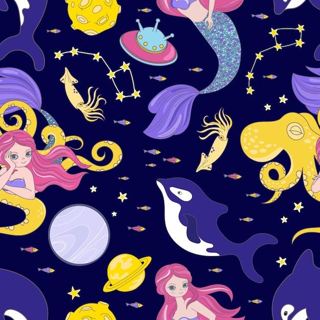 Octopus space cartoon cosmos sea animal galactic princess girl universe journey seamless pattern Vettore Premium