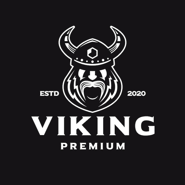 Logo bianco di odin viking face Vettore Premium
