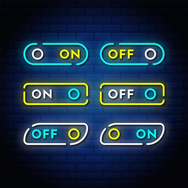 On off interruttore neon pulsante imposta raccolta di testo in stile. Vettore Premium