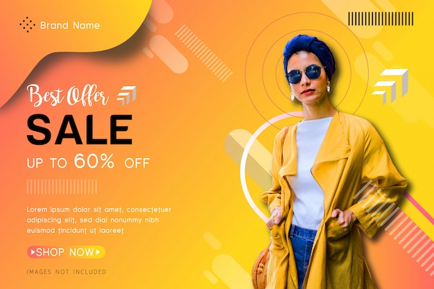 Banner di vendita offerta Vettore Premium