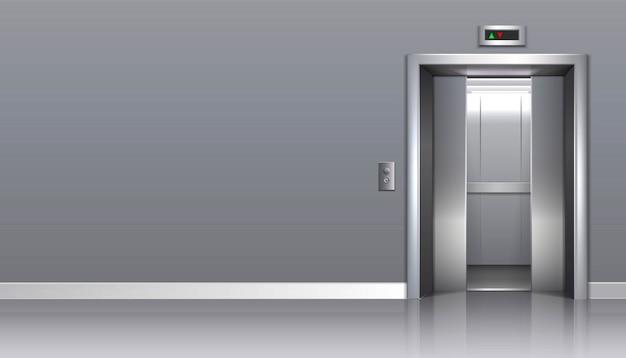 Ascensore per uffici con porte aperte e copia spazio per la tua pubblicità. Vettore Premium