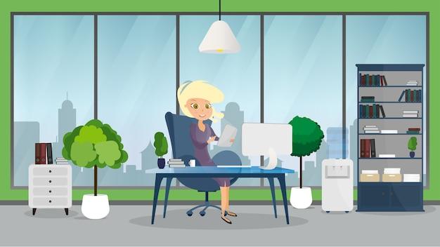 Interiore di affari dell'ufficio con una ragazza. sfondo con tavolo e computer. Vettore Premium